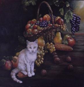 Натюрморт с коте пред кошница