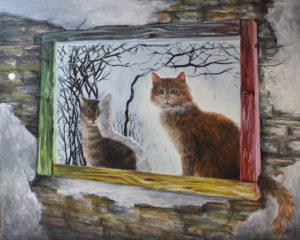 Любопитни котки на прозорец